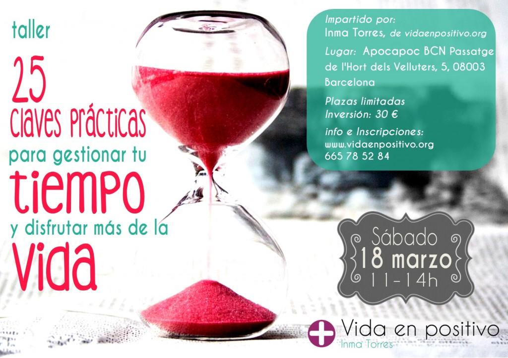 cartel taller gestion del tiempo barcelona